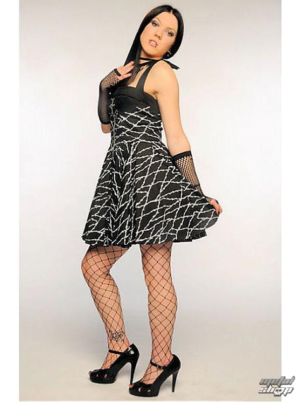 šaty dámské Barbed Wire Zip Dress (Black/White)- HELL BUNNY