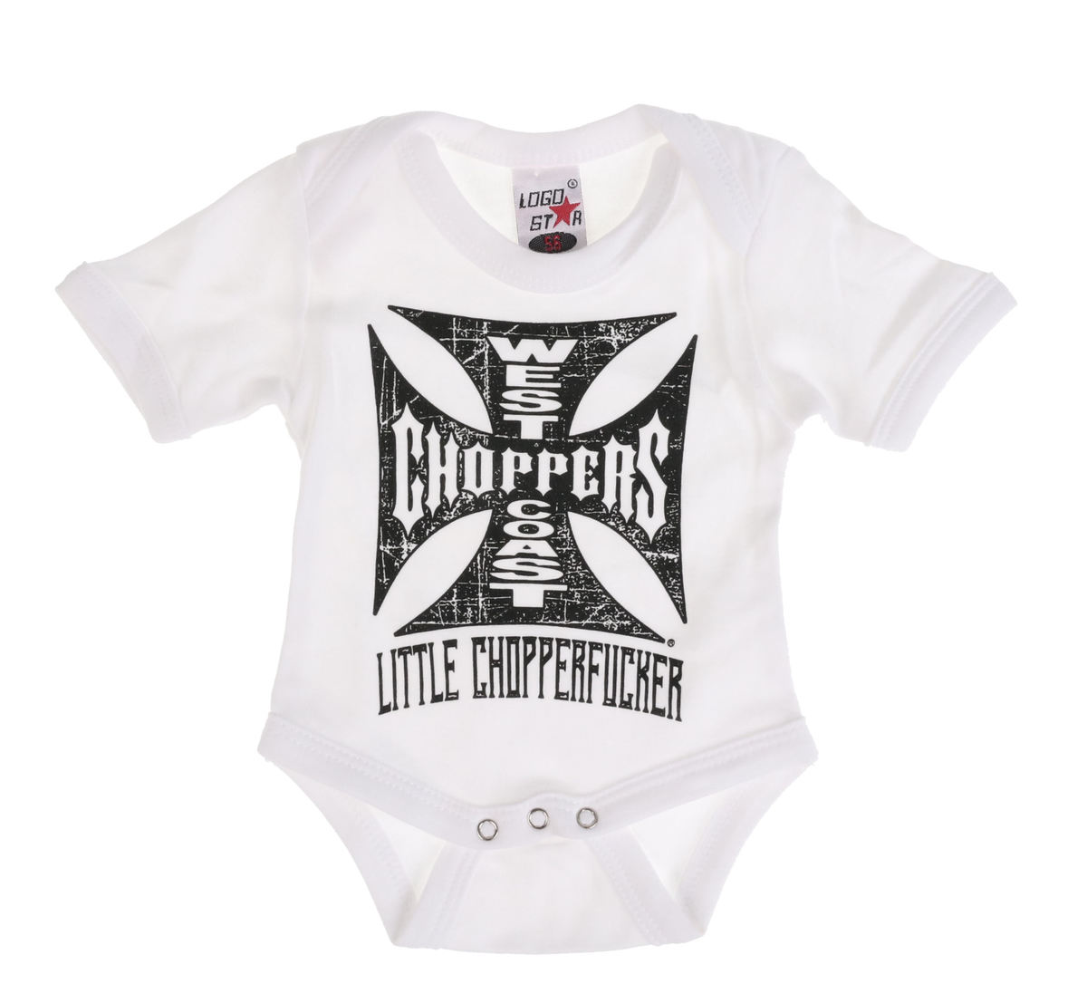body dětské WEST COAST CHOPPERS - ONESIE LITTLE CHOPPERFUCKER BABY CREEPER - White - WCCRP002WT