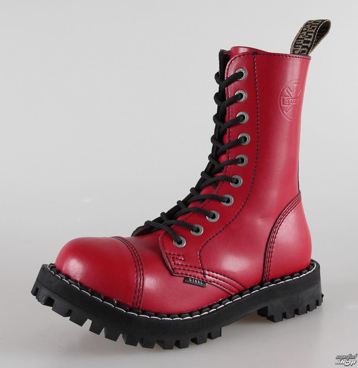 boty STEEL - 10 dírkové červené pestré (105/106 Full Red)