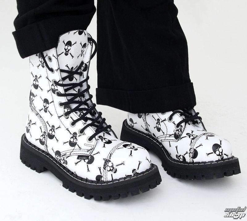 boty STEEL - 10 dírkové Bílé/černé lebky (White czasz black)
