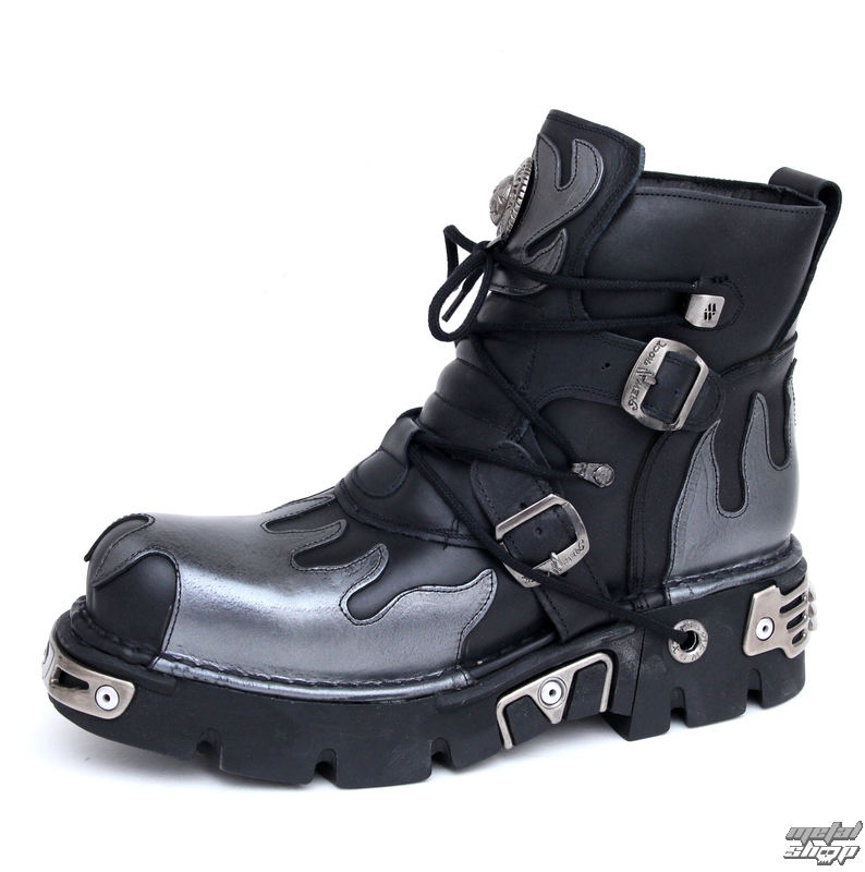 boty NEW ROCK - Flame Shoes (288-S2) Black-Grey