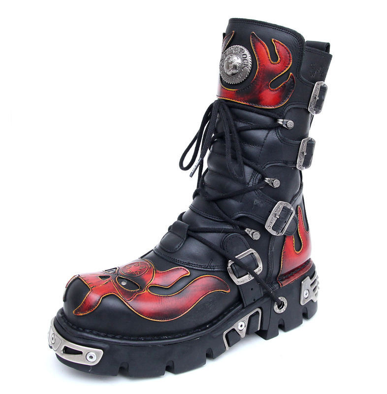 Boty New rock - Vampire Boots (107-S1) Black-Orange