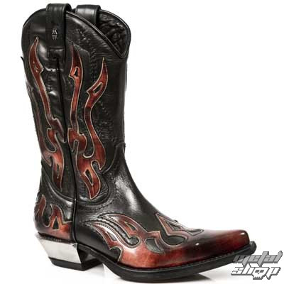 Boty New rock - Flame Biker (7921-S2) Black-Orange