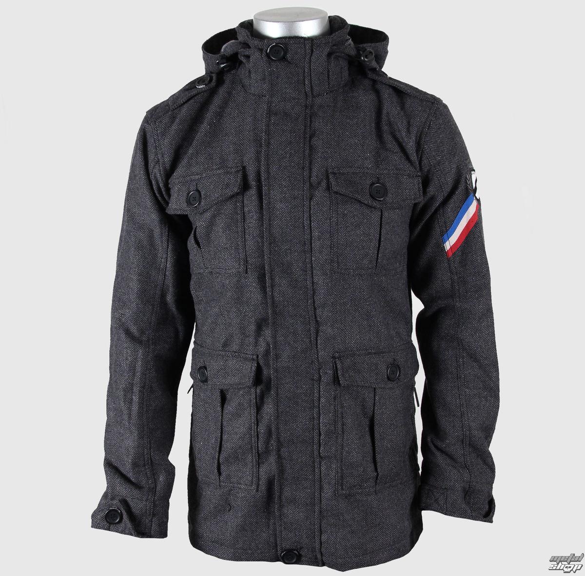"""bunda pánská jarně/podzimní (látková) MEATFLY """"Monogram Coat"""" B - BLACK HERRINGBONE"""