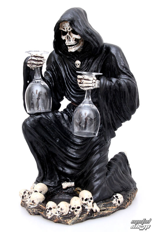 dekorace, stoján na víno Grim Reaper Bottle and Glass Holder - NEM6307