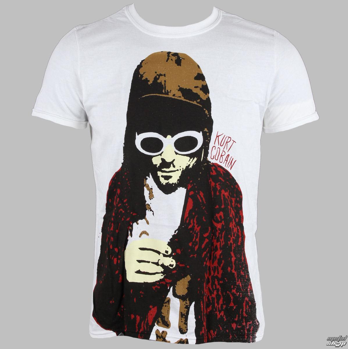 tričko pánské Kurt Cobain - Nirvana - Posterized - Wht - LIVE NATION - RTKCO0101