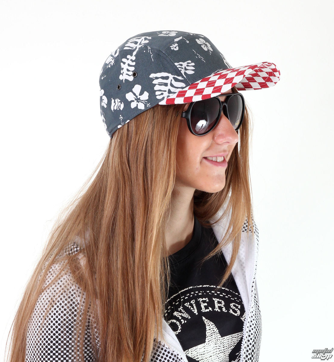 kšiltovka VANS - Davis 5 Panel Camper Hat - Red CheckNavy Aloha - VUM29CO