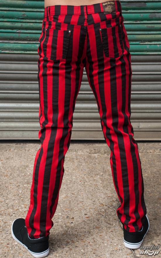 kalhoty (unisex) 3RDAND56th - Stripe Skinny - Blk/Red - JM1105
