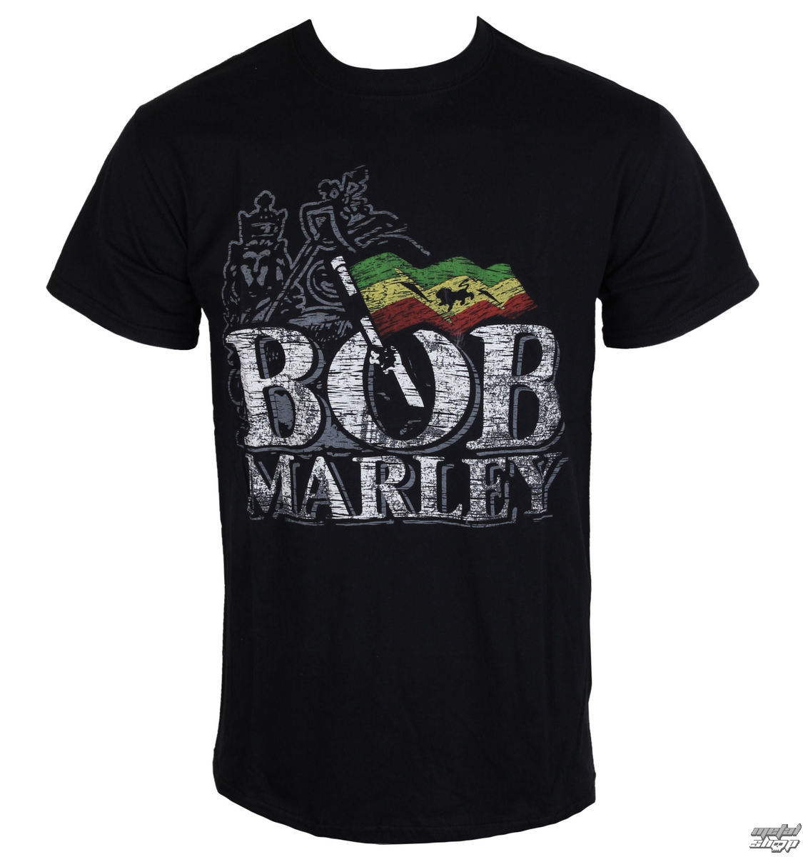 tričko pánské Bob Marley - Distressed Logo - Black - BRAVADO EU - BMATS01