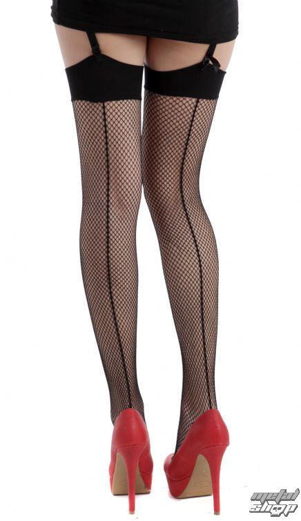 nadkolenka PAMELA MANN - Fishnet Seamed Stockings - Black