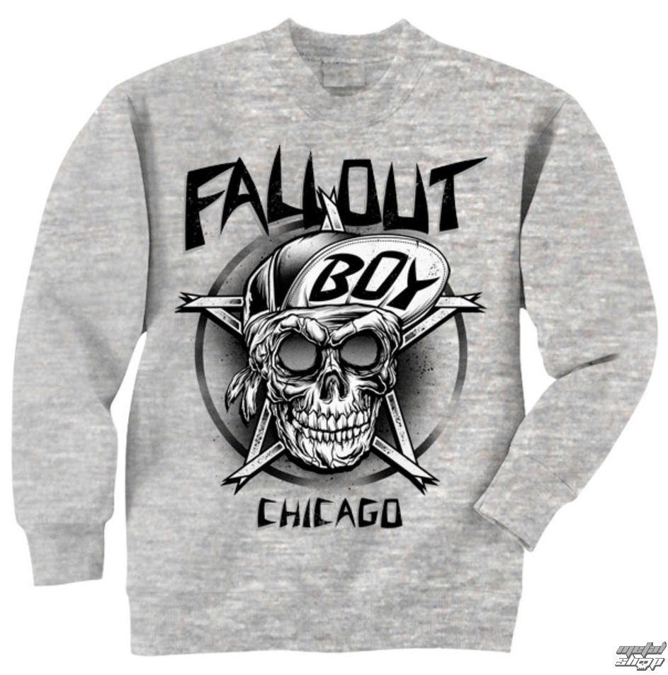 mikina pánská Fall Out Boy - Skull - Grey - LIVE NATION - PE10832CNC
