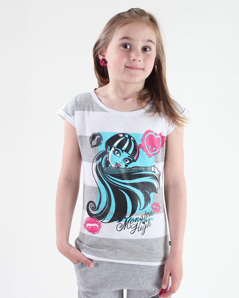 tričko dívčí TV MANIA - Monster High - White/Grey - MOH 518