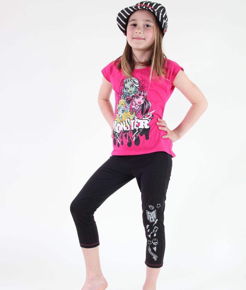 set dívčí ( tričko, legíny) TV MANIA - Monster High - Pink/Black - MOH 536
