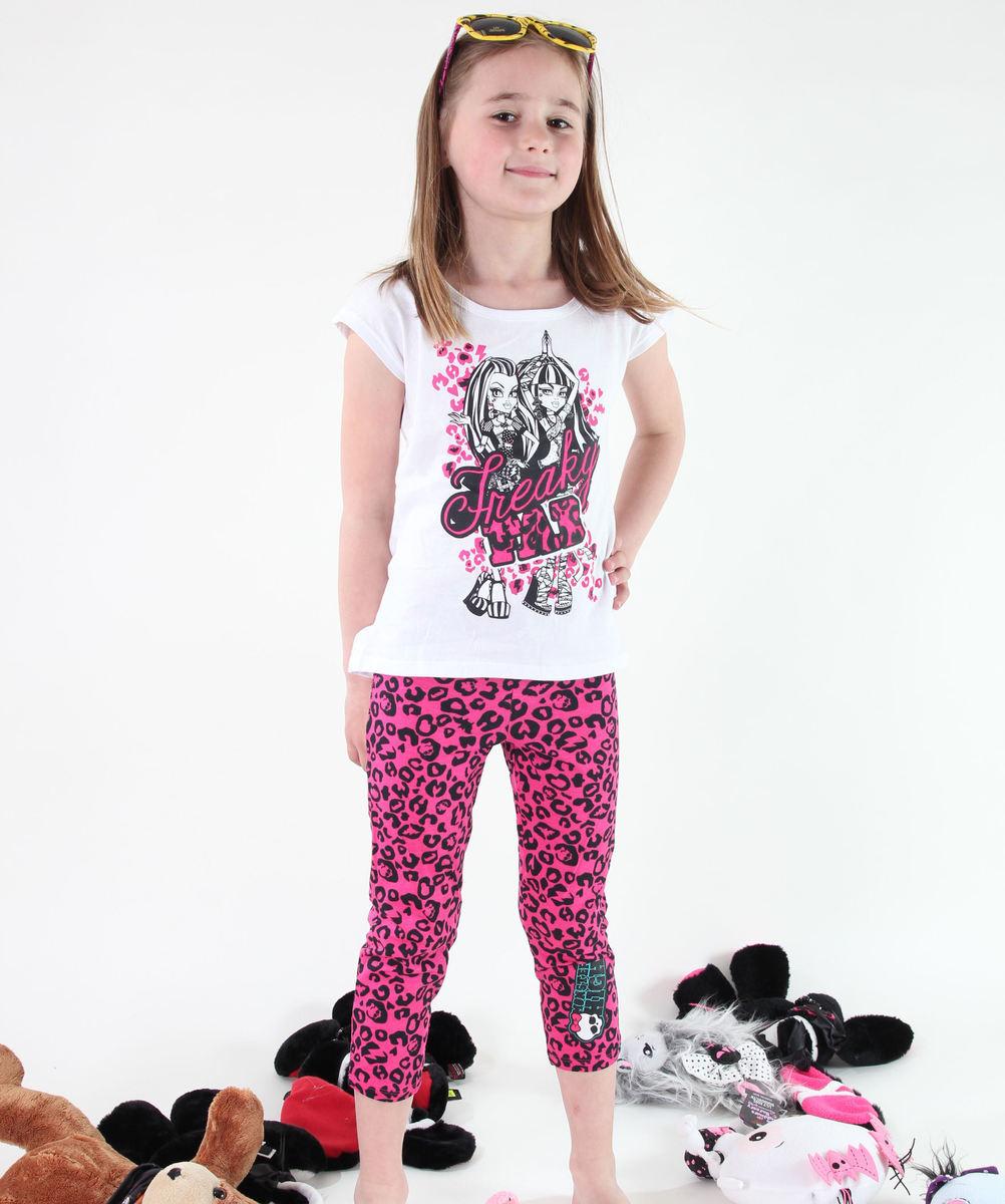 set dívčí ( tričko, legíny) TV MANIA - Monster High - White/Pink - MOH 537