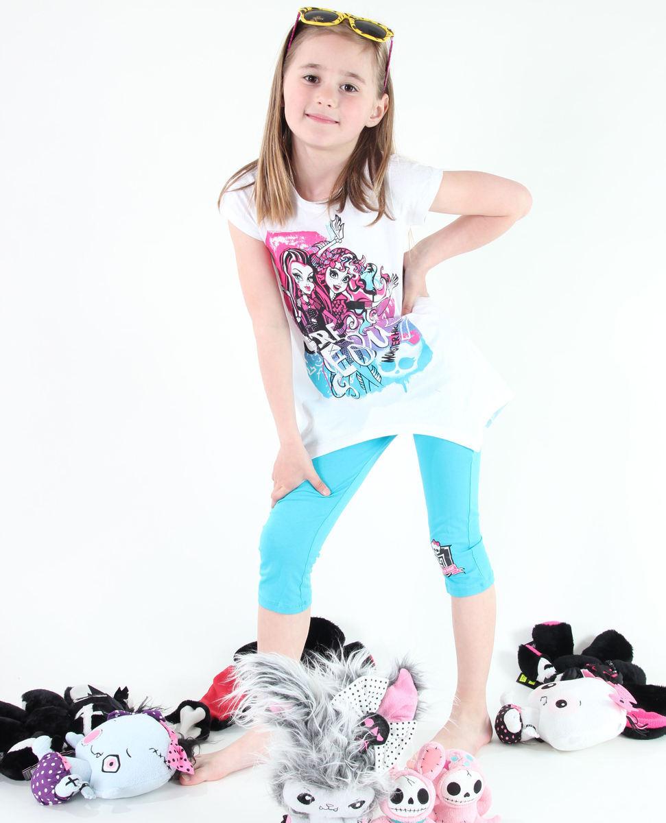set dívčí ( tričko, legíny) TV MANIA - Monster High - White - MOH 541