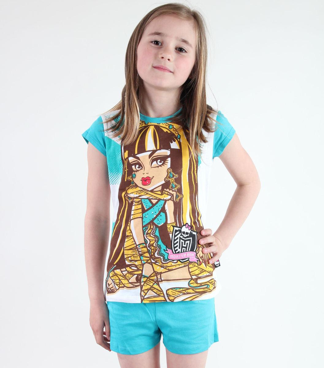pyžamo dívčí TV MANIA - Monster High - White/Turquise - MOH 544
