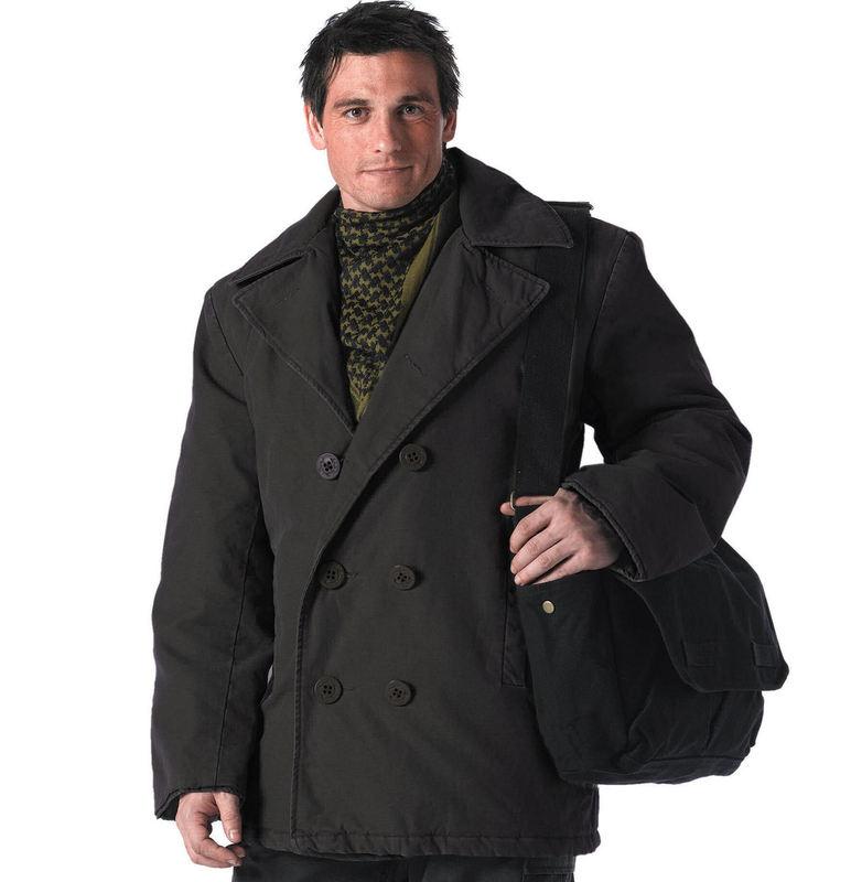 kabát zimní ROTHCO - PEA COAT- BLACK - 7877