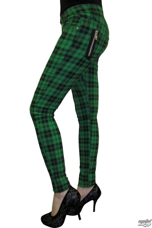 kalhoty dámské BANNED - Check Skinny - Green - TBN405GRE