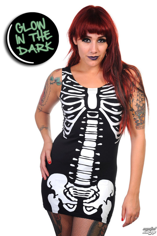 šaty dámské (tunika) BANNED - Glow In The Dark Skeleton - Black