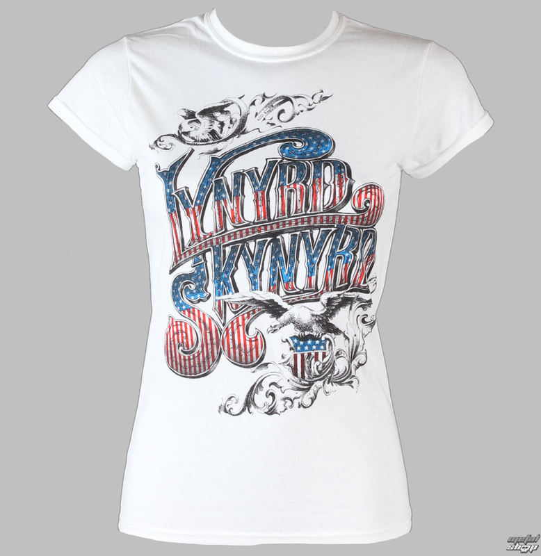 Tričko metal LIVE NATION Lynyrd Skynyrd Usa Flag Logo bílá XL