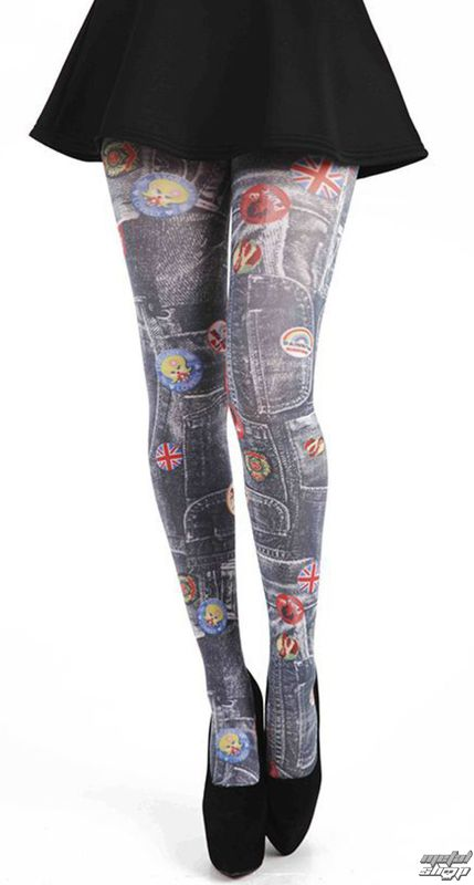 punčocháče PAMELA MANN - Denim Rockabilly Printed Tights - Multi