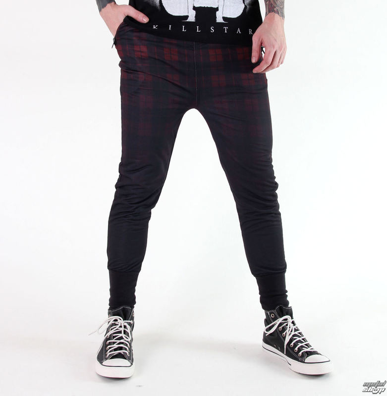 kalhoty (tepláky - unisex) KILLSTAR - Tartan - B/R - KIL234