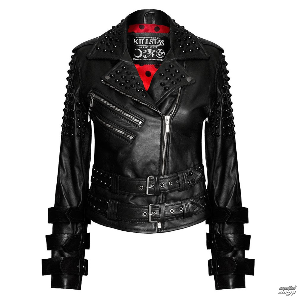 bunda kožená dámské - Buckled Leather - KILLSTAR - Black