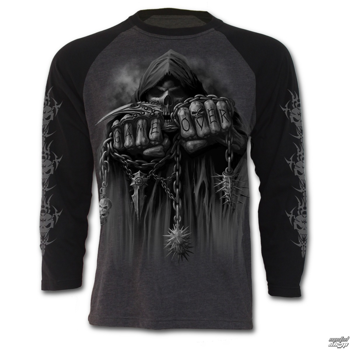 tričko pánské s dlouhým rukávem SPIRAL - Game Over - Charcoal - T026M315