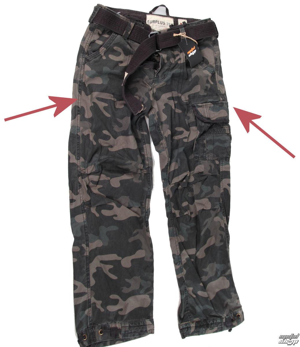 kalhoty pánské SURPLUS - Premium Vintage - Black Camo - POŠKOZENÉ - N158