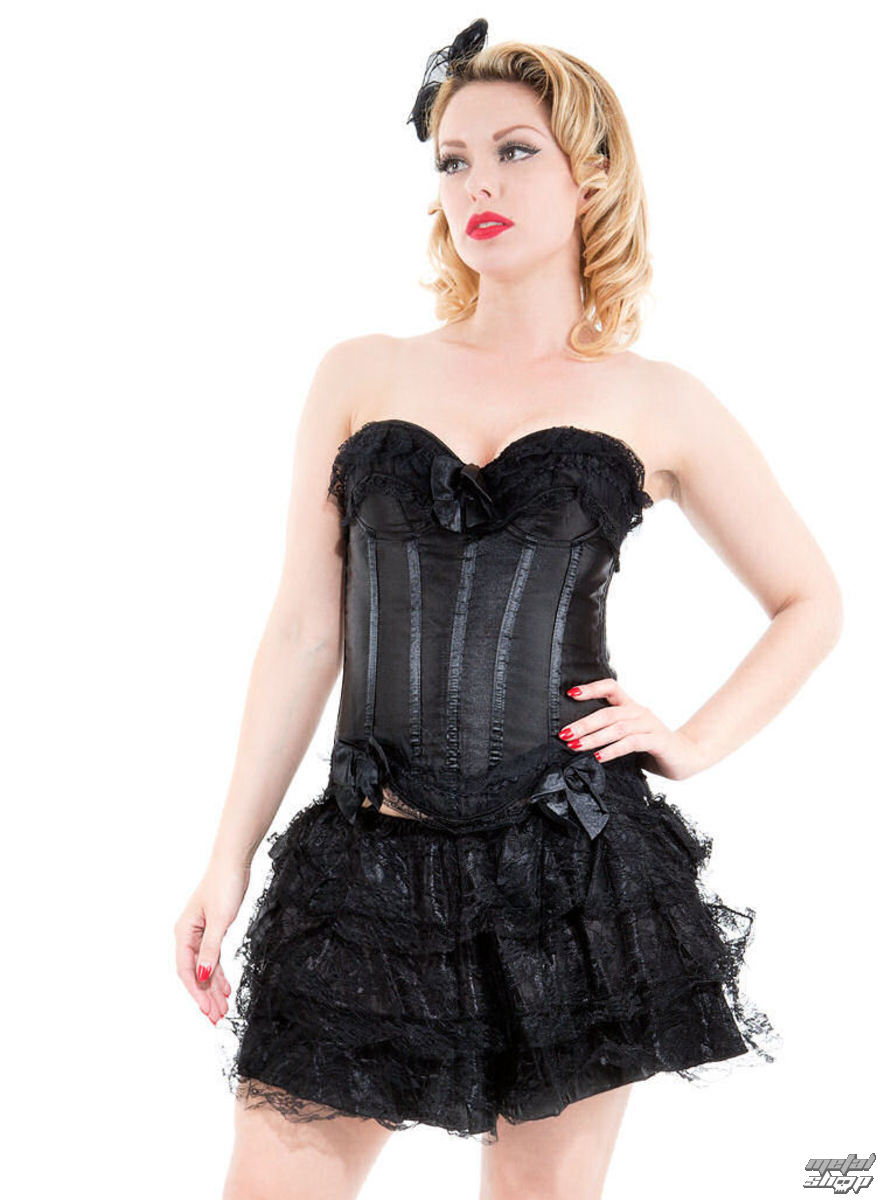 korzet a sukně dámská HEARTS AND ROSES - Black Corset With Skirt - 8068black M