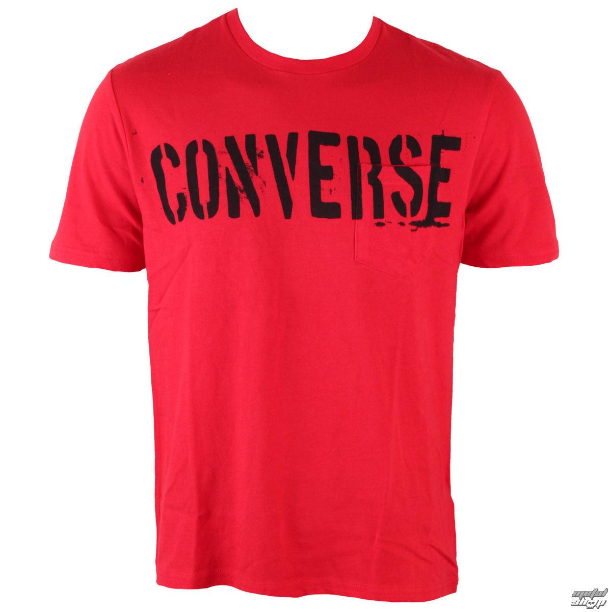 tričko pánské CONVERSE - AMT Converse Stencil PKT - Red - 12343C-624