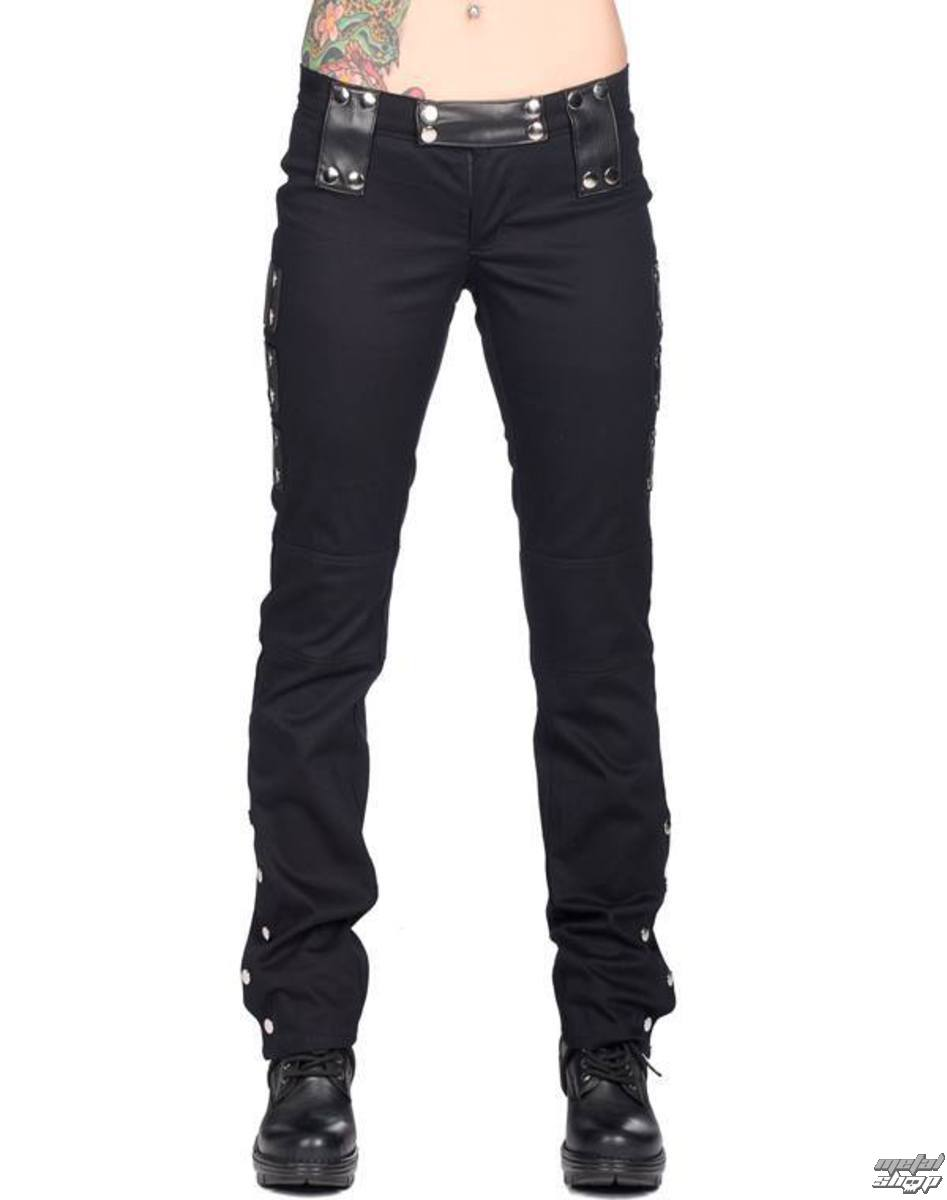kalhoty dámské BLACK PISTOL - Stud Low Cut Denim - Black - B-1-39-001-00