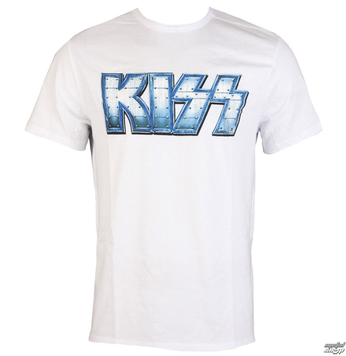 tričko pánské KISS - METAL DISTRESSED LOGO - WHT - AMPLIFIED - av210KMD wht