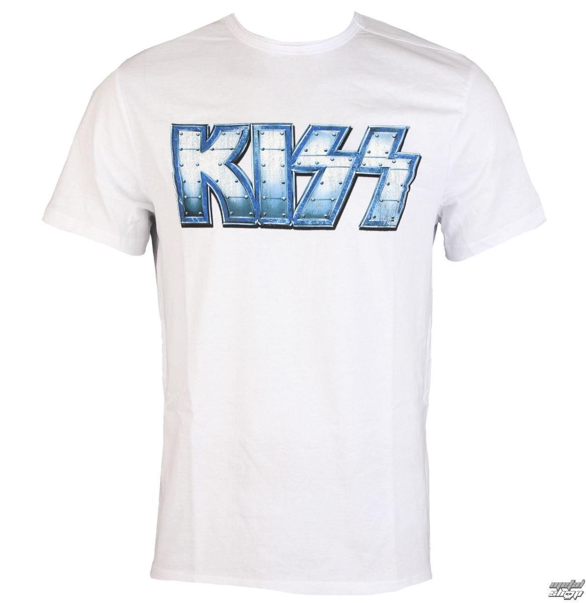 tričko pánské KISS - METAL DISTRESSED LOGO - WHT - AMPLIFIED - av210KMD