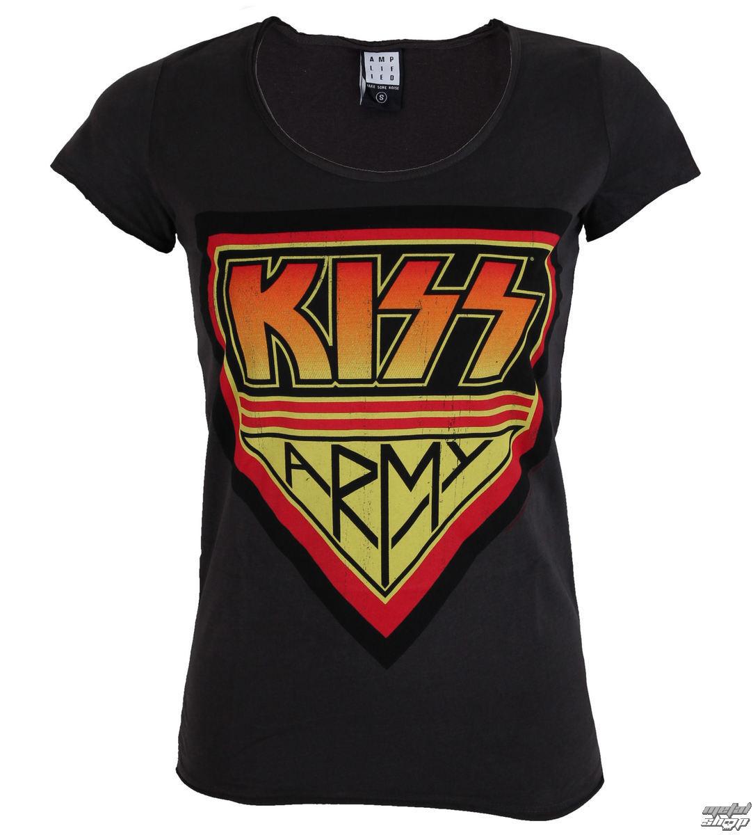 tričko dámské KISS - DISTRESSED ARMY CHARCOAL - AMPLIFIED - AV601KAD
