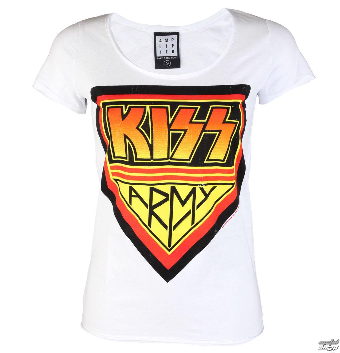 tričko dámské KISS - DISTRESSED ARMY WHITE - AMPLIFIED - AV601KAD