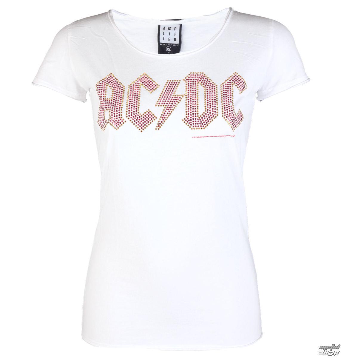 tričko dámské AC/DC - LOGO WHITE RED - AMPLIFIED - AV601ACS