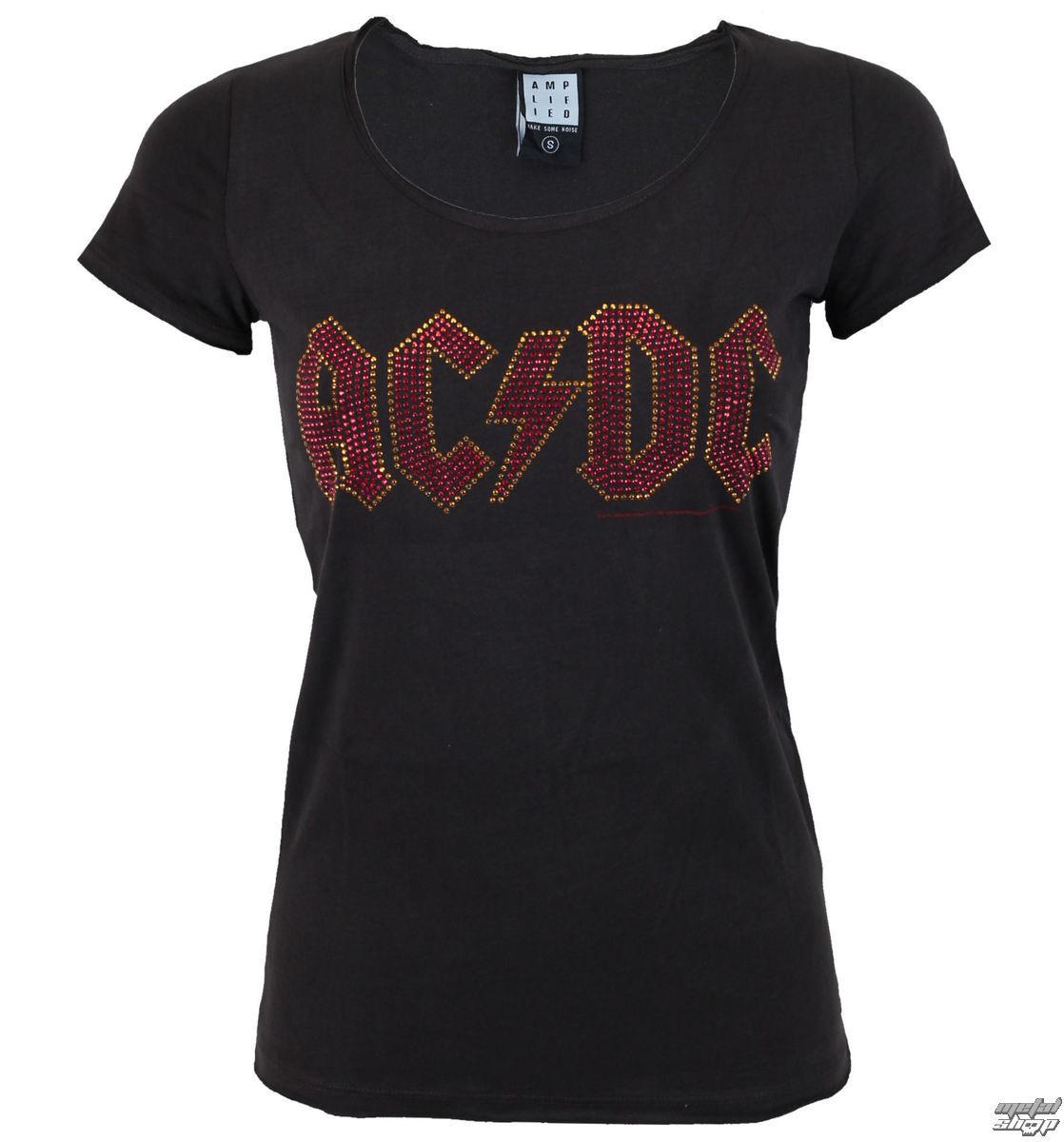 tričko dámské AC/DC - LOGO CHARCOAL RED - AMPLIFIED - AV601ACS