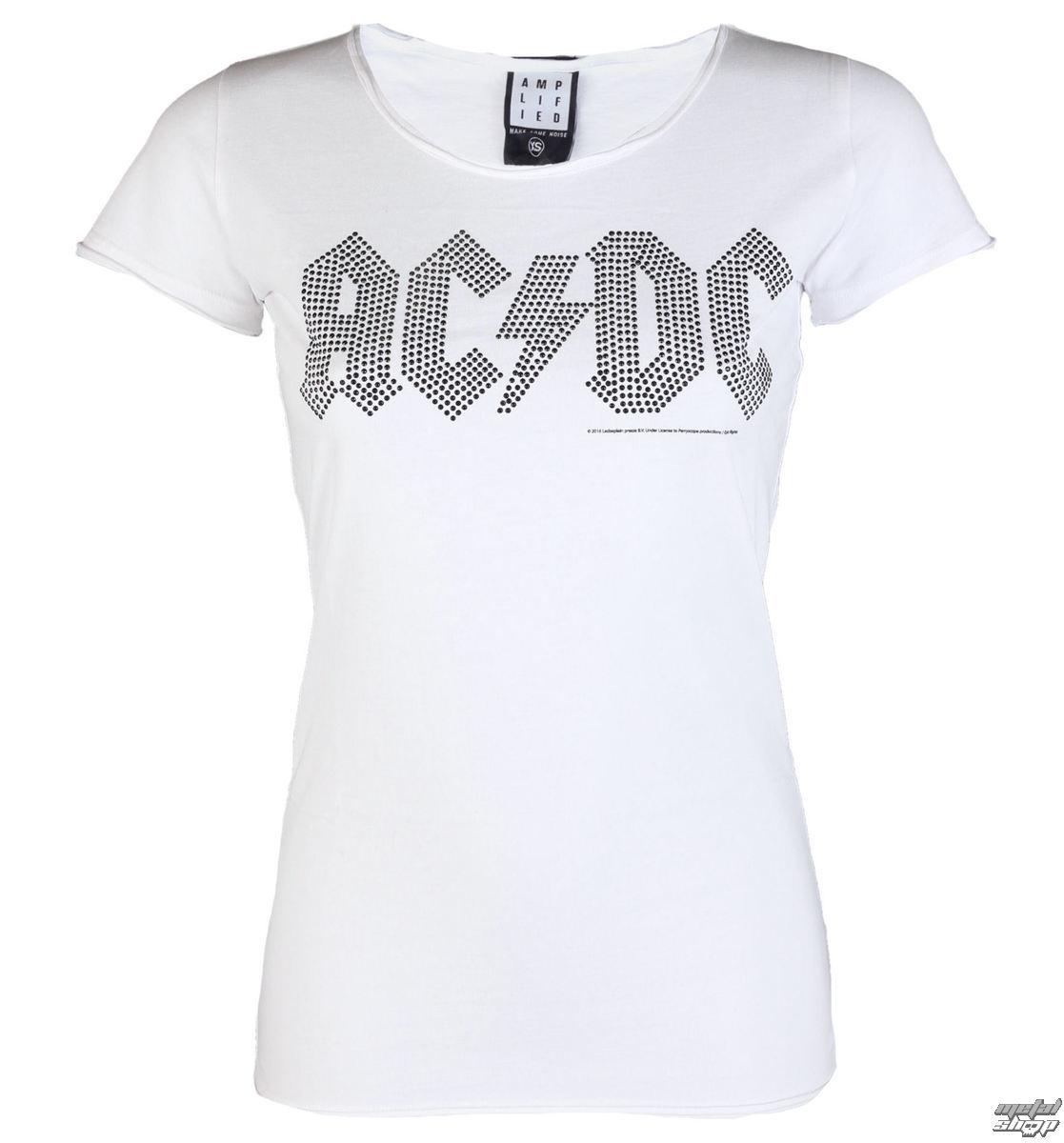 tričko dámské AC/DC - LOGO WHITE BLACK - AMPLIFIED - AV601ALB