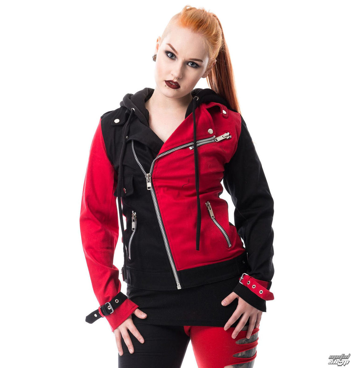 bunda dámská HEARTLESS - JESTER - BLACK/RED