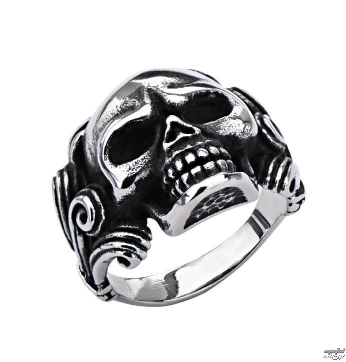 prsten INOX - SKULL W/WIRE SIDE - FRW8801