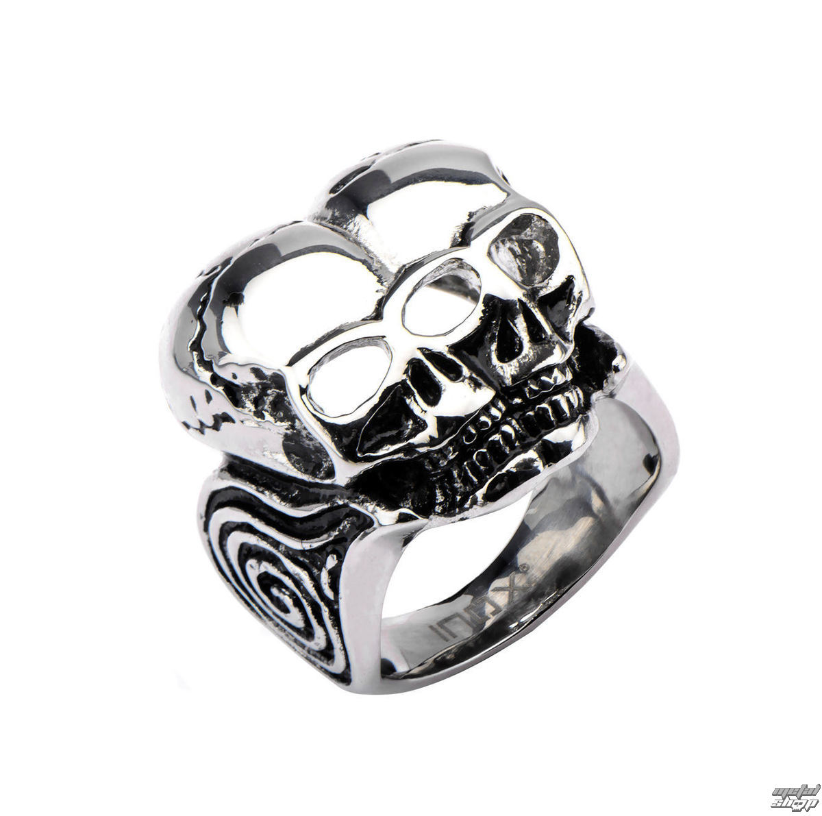 prsten INOX - BLK CONJOIND TWN SKUL - FR367