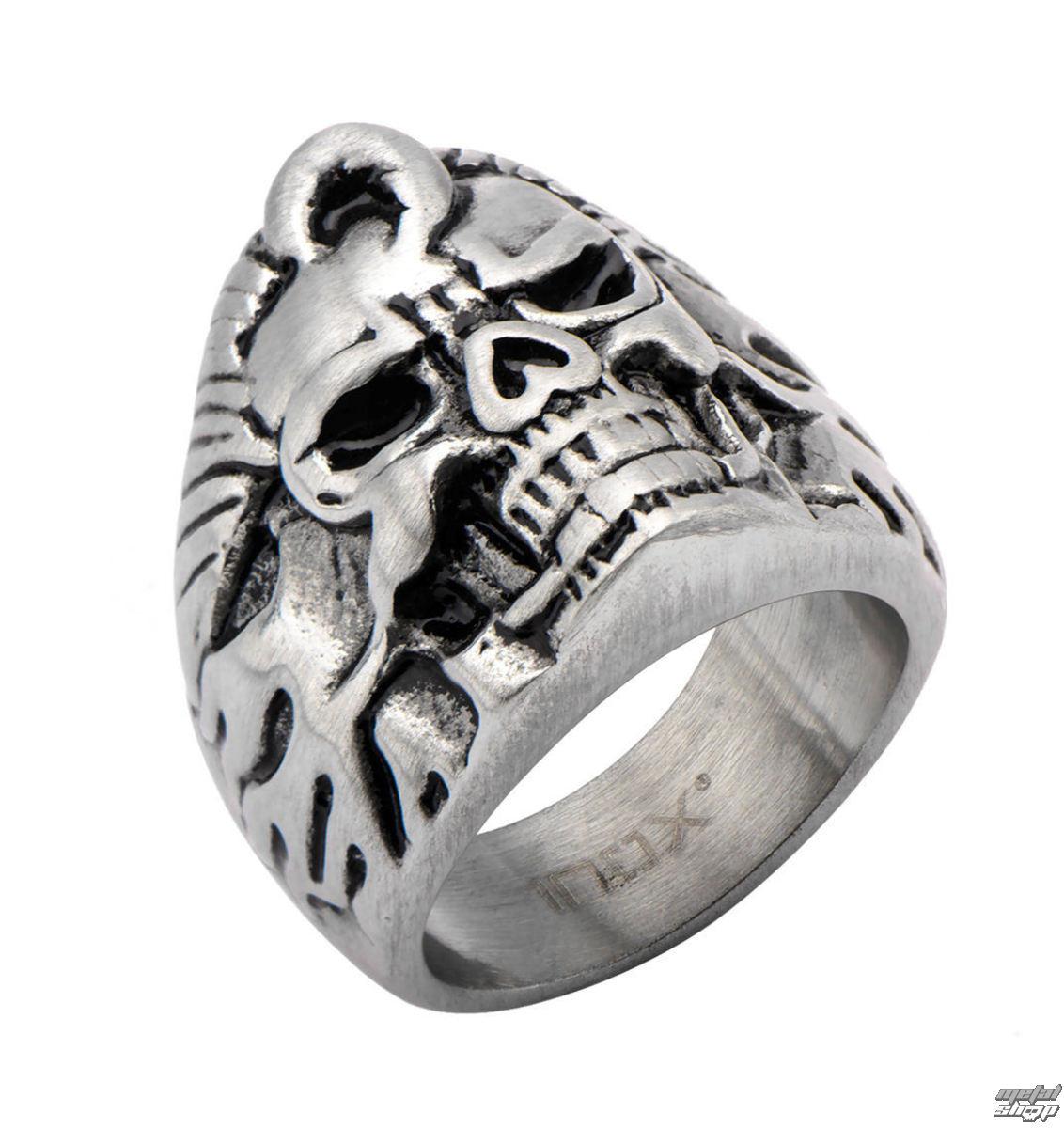 prsten INOX - BLK FLAME SKULL - FR369