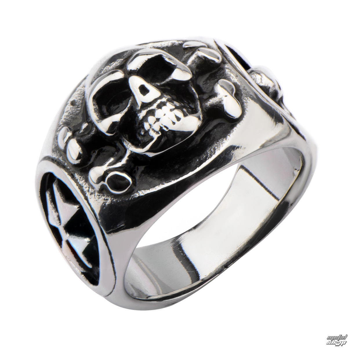 prsten INOX - SKULL BACK CROSS BONE - FR1192 9