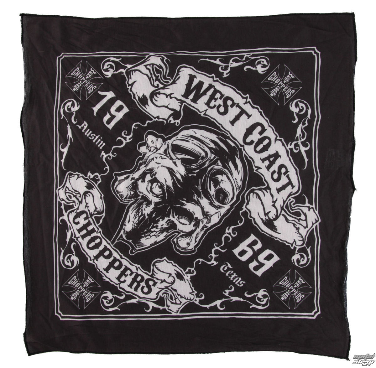 šátek West Coast Choppers - SKULL 13 -  BLACK - WCCBA005ZW