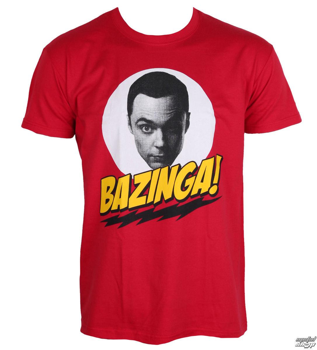 tričko pánské Teorie Velkého Třesku - Bazinga Sheldons Head - Red - HYBRIS - WB-1-TBBT014-H46-2-RD