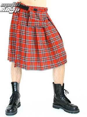 kilt BLACK PISTOL Short Kilt Tartan Red S