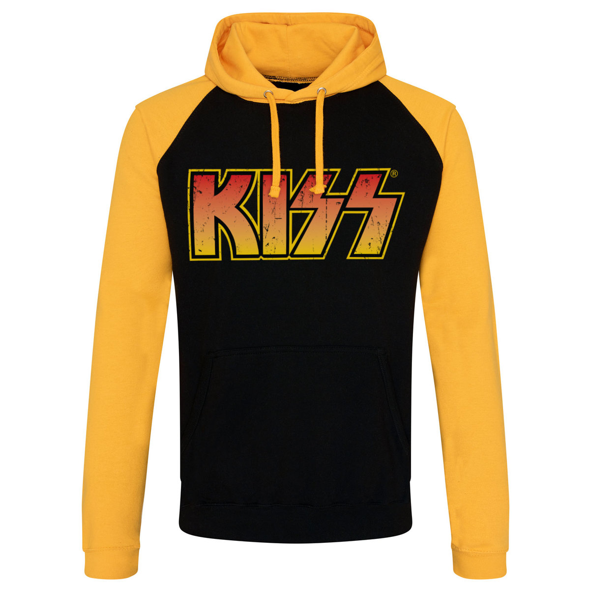 c2e7266843e1 mikina pánská KISS - Distressed Logotype - Black Yellow - HYBRIS ...