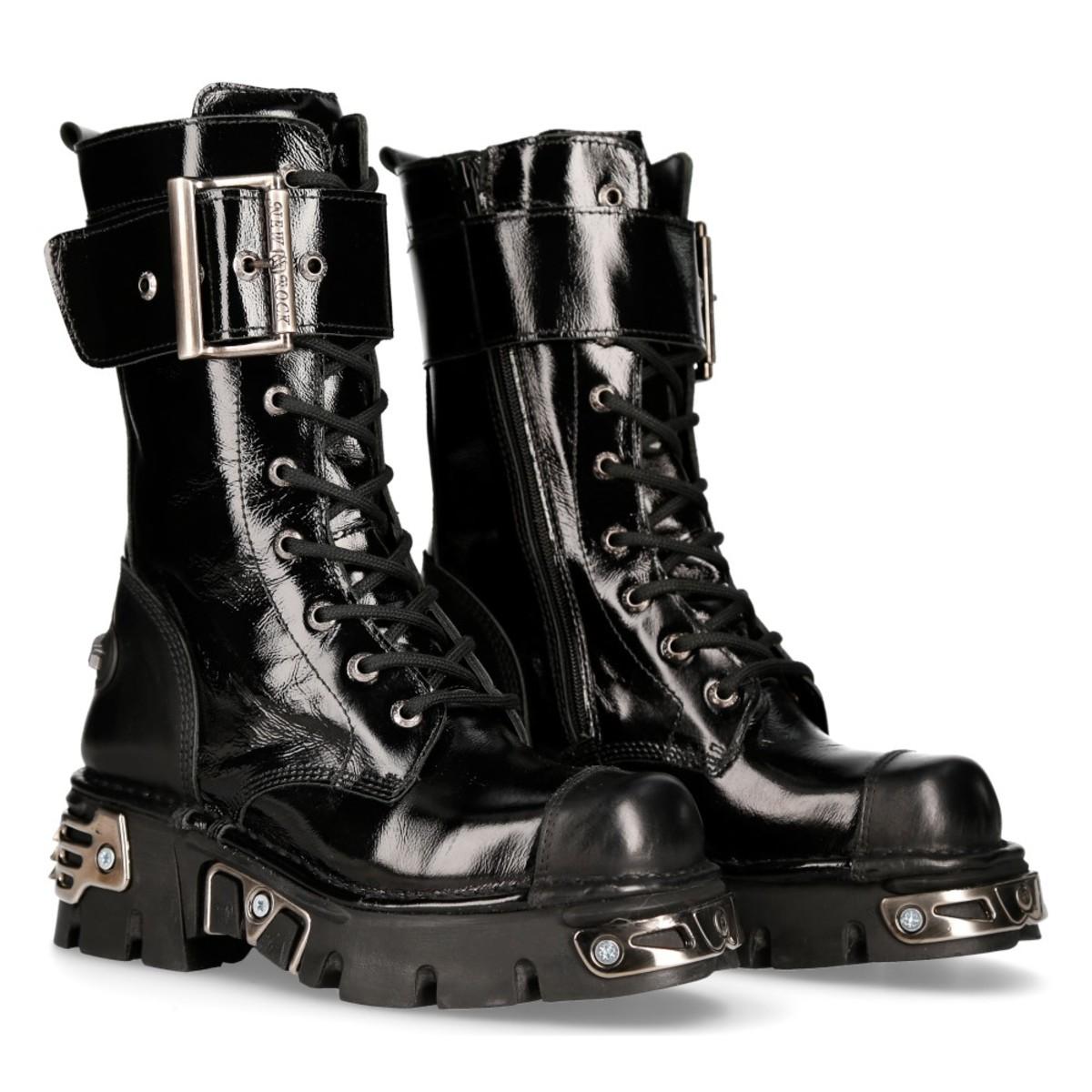 boty kožené NEW ROCK CRUST NEGRO černá 45
