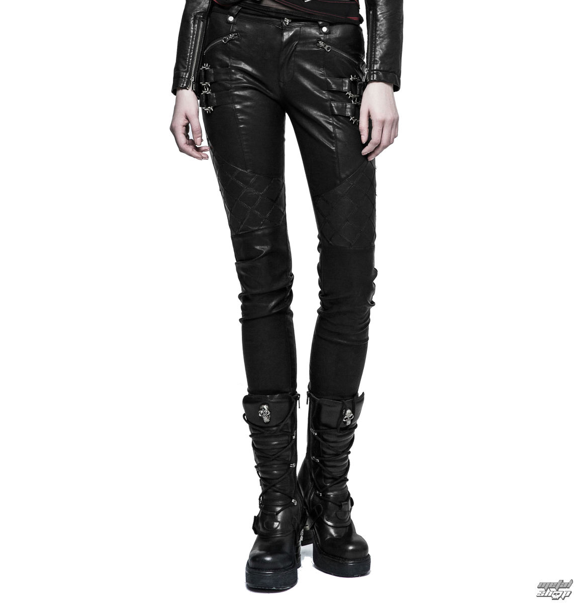 kalhoty gothic PUNK RAVE K-297 Mantrap leather XL